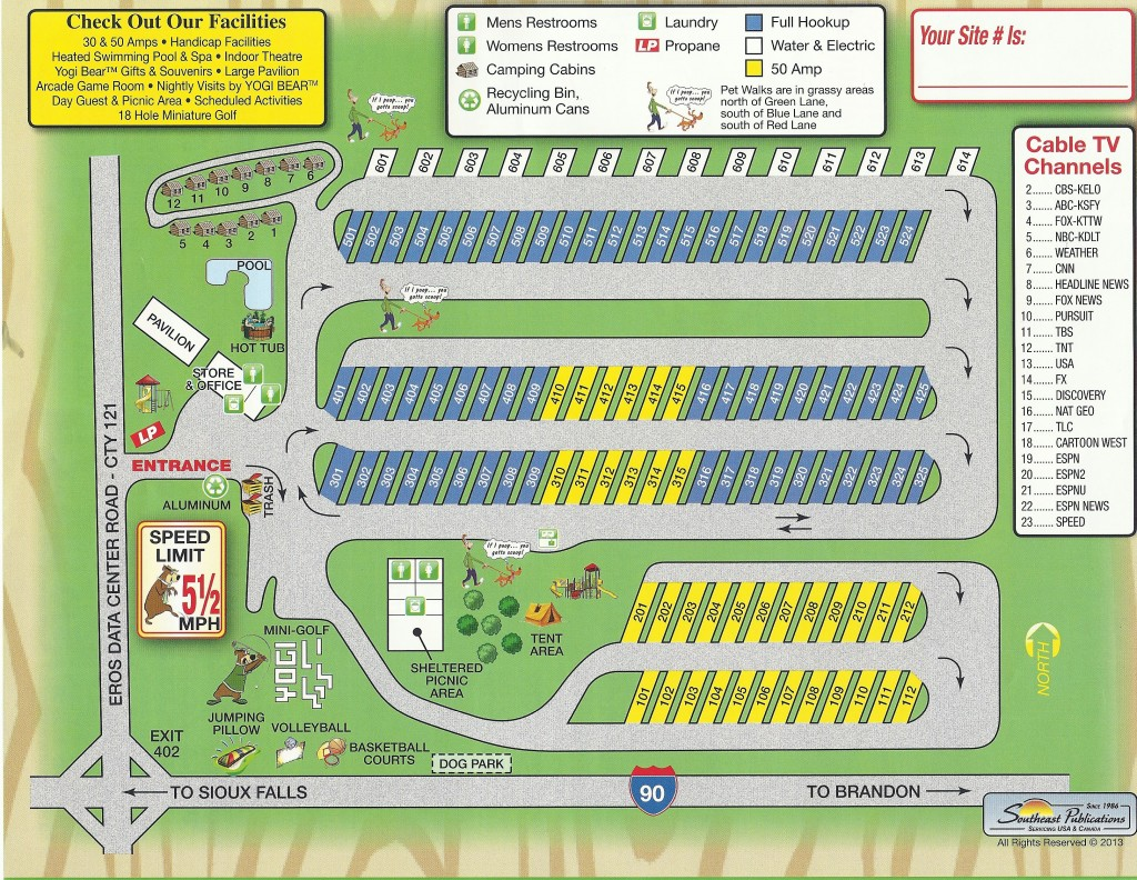 Sioux Falls Camp Jellystone™ Campground Map