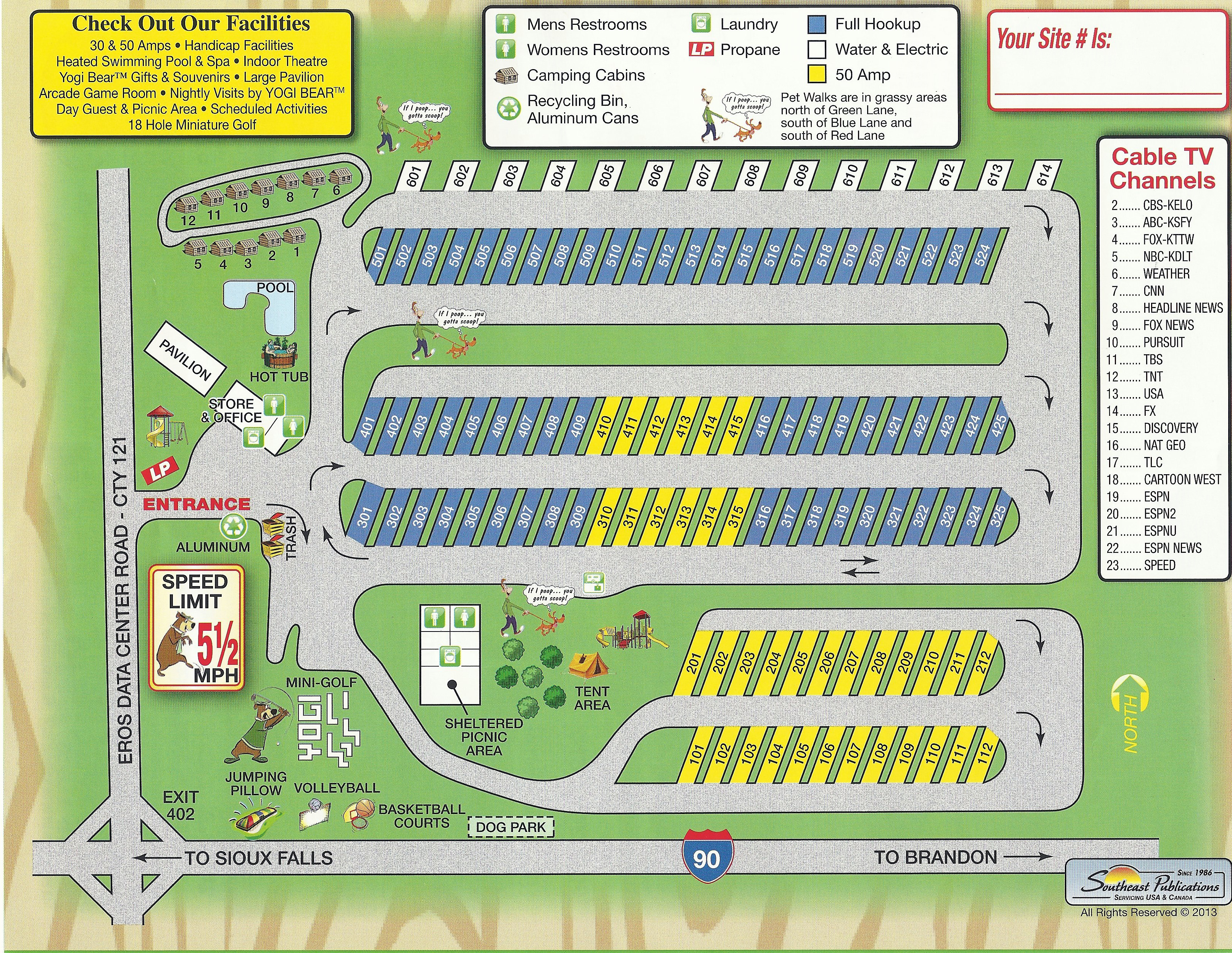 Sioux Falls Camp JellystoneTM Campground Map